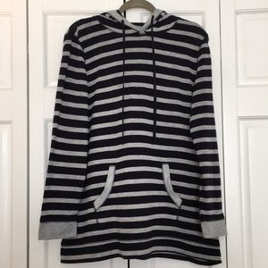 Navy blue & gray striped top